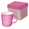 coffee mug gb love peace party pink