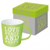 coffee mug gb love peace party lime