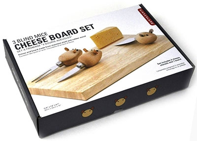 Rubberwood Stainless Steel Mouse Cheese Board Set