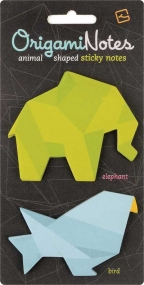 notes origamis elephant and bird