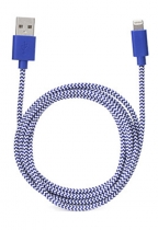 iPhone Lightning Blue Cotton Braided Charging Cable