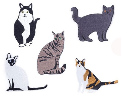 Iron On Patch - Cats, Set Of 5