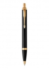 ballpoint pen black lacquer gold trim with medium point blue ink refill