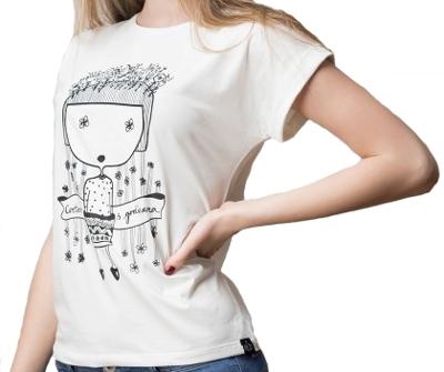 Ženska majica podvrnuta, Bela - Cvetam s godinama, L