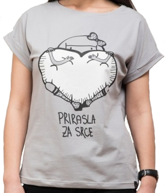 Ženska majica podvrnuta, Svetlo siva - Prirasla za srce, L