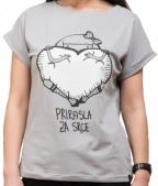 Ženska majica podvrnuta, Svetlo siva - Prirasla za srce, M