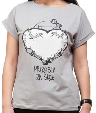 Ženska majica podvrnuta, Svetlo siva - Prirasla za srce, S