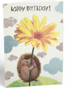 cestitka - happy birthday hedgehog flower
