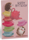 cestitka - happy birthday hedgehog tea