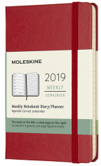 moleskine planner diary 2019 12m weekly notebook pocket scarlet red hard cover