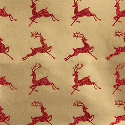 Novogodišnji Ukrasni papir, tabak - Leaping Reindeer Red on Gold