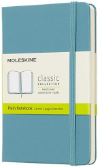 moleskine classic notebook pocket plain hard cover reef blue