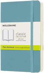 moleskine classic notebook pocket plain soft cover reef blue