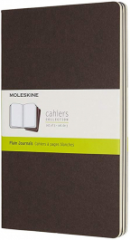 moleskine coffee brown large plain cahier journal set of 3