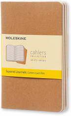 moleskine squared pocket cahier - brown set of 3