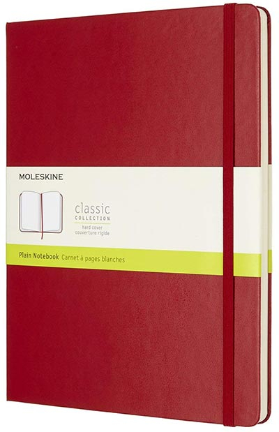 Moleskine - Hard Cover XL Plain Notebook, Scarlet Red