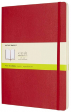 moleskine - soft cover xl plain notebook scarlet red