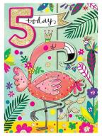 Čestitka - Age 5, Flamingo