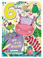 Čestitka - Age 6, Hippo