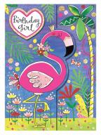 Čestitka - Bday Girl, Flamingo