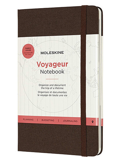 Moleskine Voyageur Notebook, Travel Notebook, Fabric Hard Cover with Elastic Closure, Coffee Brown Colour