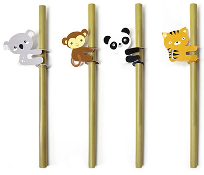 Animal Bamboo Straws, set 1/4