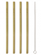 Natural Bamboo Straws, set 1/8 +Brush