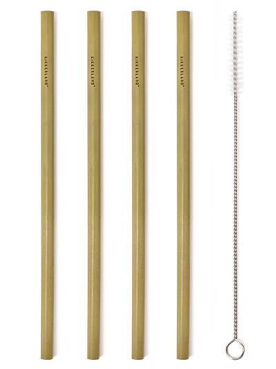 Natural Bamboo Straws, set 1/8 +Brush