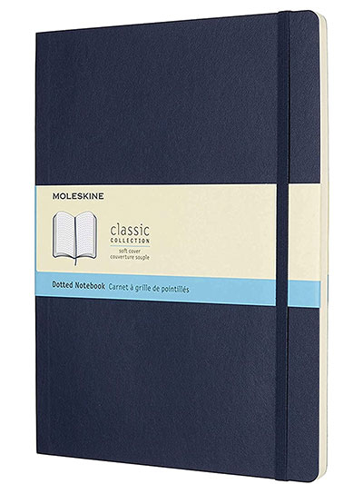 Moleskine Classic Dotted Paper Notebook - Soft Cover and Elastic Closure Journal - Color Sapphire Blue