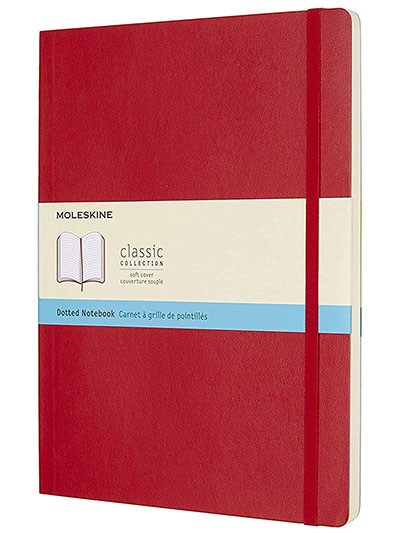 Moleskine Classic Dotted Paper Notebook - Soft Cover and Elastic Closure Journal - Color Scarlet Red