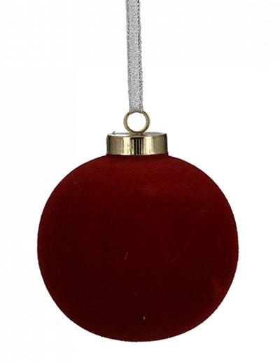 Novogodišnji ukras - Hanging Christmas Ball Velvet wine, red