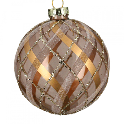 Novogodišnji ukras - Hanging LED, glass ball, Fascia brightbrown