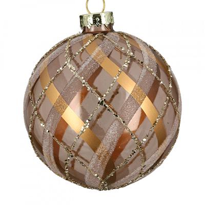 Novogodišnji ukras - Hanging LED, glass ball, Fascia brightbrown