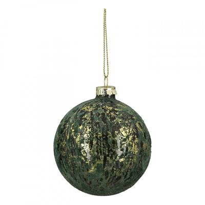 Novogodišnji ukras - Hanging LED, glass ball, Green Flock