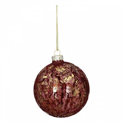 Novogodišnji ukras - Hanging LED, glass ball, Purple Flock