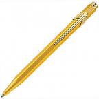 Caran d'Ache 849 Gold Bar Ballpoint Pen with Chrome Trim, Blue Ink