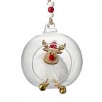 Novogodišnji ukras - Glass Decor With White Fluffy Reindeer