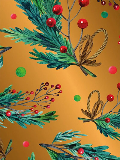 Novogodišnji ukrasni papir - Holly Branch