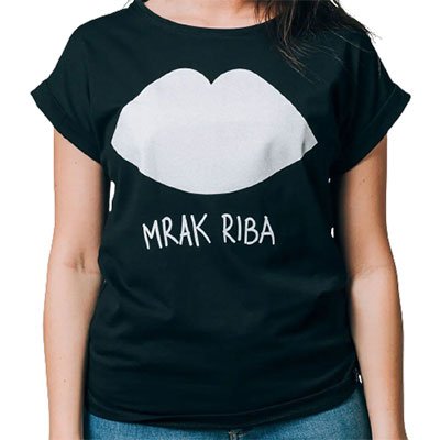 Ženska majica podvrnuta - Mrak riba, crna, S