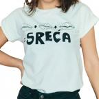 Ženska majica podvrnuta - Tri poljupca, bela, S