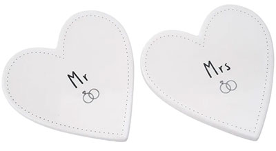 Set od 2 podmetača - Sent and Meant, Mr and Mrs, Heart