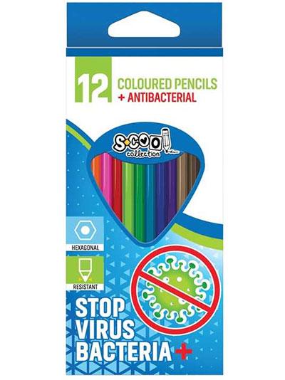 Drvene bojice S-Cool 1/12, antibakterijske