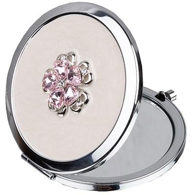 Ogledalce - Sophia, Silverplate, Pink Floral