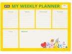 Planer A4 - nedeljni, Animal Friends, Žuti